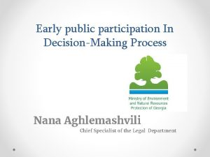 Early public participation In DecisionMaking Process Nana Aghlemashvili