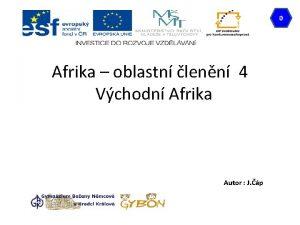 0 Afrika oblastn lenn 4 Vchodn Afrika Autor