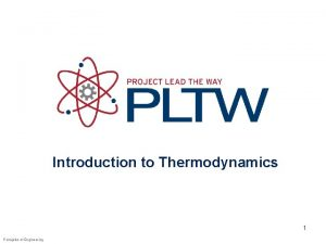 Introduction to Thermodynamics 1 Principles of Engineering Thermodynamics