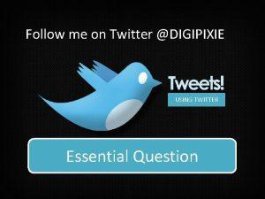 Follow me on Twitter DIGIPIXIE USING TWITTER How