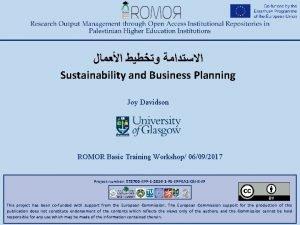 Sustainability and Business Planning Joy Davidson ROMOR Basic