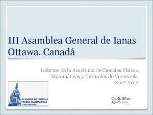 III Asamblea General de Ianas Ottawa Canad Informe