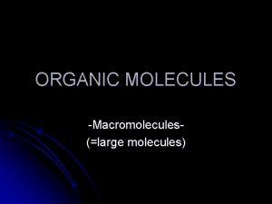 ORGANIC MOLECULES Macromoleculeslarge molecules Organic Molecules l Found