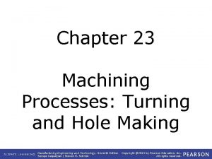Chapter 23 Machining Processes Turning and Hole Making