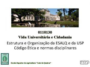 0110130 Vida Universitria e Cidadania Estrutura e Organizao