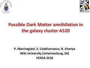 Possible Dark Matter annihilation in the galaxy cluster