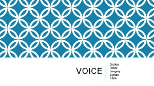 VOICE Diction Detail Imagery Syntax Tone VOICE Effective