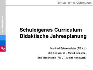 Nds Landesschulbehrde Schuleigenes Curriculum Didaktische Jahresplanung Manfred Briesemeister