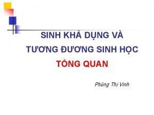 SINH KH DNG V TNG NG SINH HC