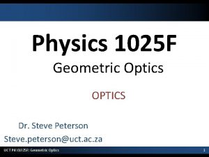 Physics 1025 F Geometric Optics OPTICS Dr Steve