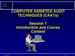 IT audit training for COMPUTER ASSISTED AUDIT TECHNIQUES