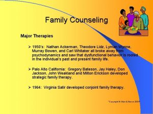 Family Counseling Major Therapies 1950s Nathan Ackerman Theodore
