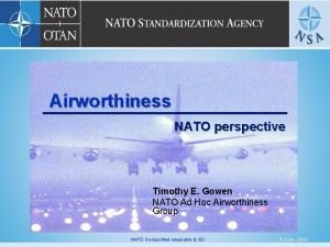 Airworthiness NATO perspective Timothy E Gowen NATO Ad