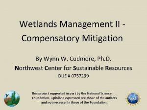 Wetlands Management II Compensatory Mitigation By Wynn W