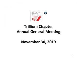 Trillium Chapter Annual General Meeting November 30 2019