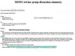 MIMO Adhoc group discussion summary Document Number IEEE