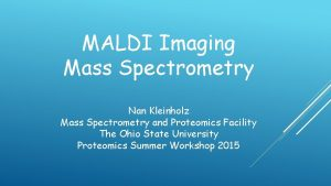 MALDI Imaging Mass Spectrometry Nan Kleinholz Mass Spectrometry