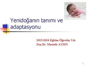 Yenidoann tanm ve adaptasyonu 2015 2016 Eitimretim Yl