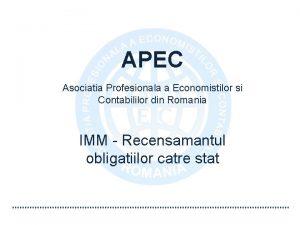 APEC Asociatia Profesionala a Economistilor si Contabililor din