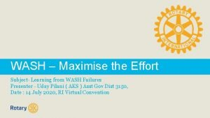 WASH Maximise the Effort Subject Learning from WASH