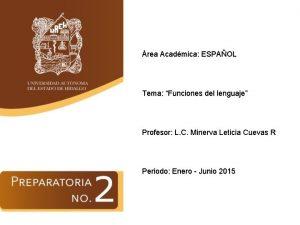 rea Acadmica ESPAOL Tema Funciones del lenguaje Profesor