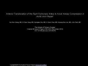 Anterior Translocation of the Right Pulmonary Artery to