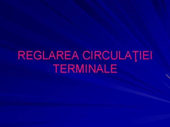 REGLAREA CIRCULAIEI TERMINALE REGLAREA CIRCULAIEI TERMINALE adaptat necesiti