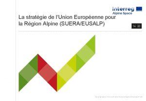 La stratgie de lUnion Europenne pour la Rgion