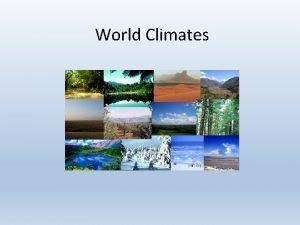 World Climates Tropical Wet Characteristics Always hot rains