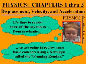 PHYSICS CHAPTERS 1 thru 3 Displacement Velocity and