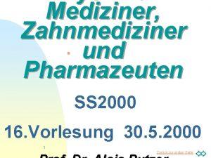 Physik fr Mediziner Zahnmediziner und Pharmazeuten n SS