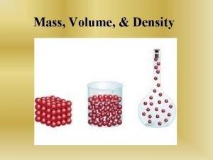 Mass Volume Density Mass Measurement of the amount