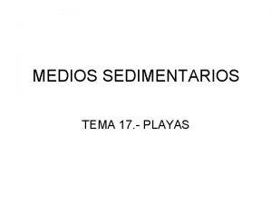 MEDIOS SEDIMENTARIOS TEMA 17 PLAYAS LA COSTA DE