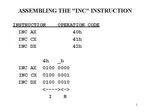 ASSEMBLING THE INC INSTRUCTION INC AX INC CX