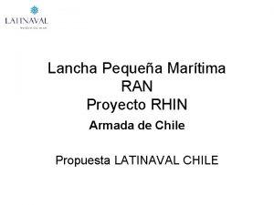 Lancha Pequea Martima RAN Proyecto RHIN Armada de