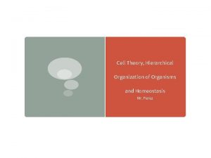 Cell Theory Hierarchical Organization of Organisms and Homeostasis