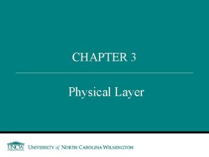 CHAPTER 3 Physical Layer Outline Recap Application Layer