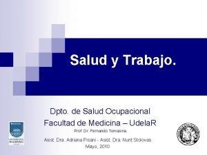 Salud y Trabajo Dpto de Salud Ocupacional Facultad