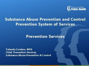 Substance Abuse Prevention and Control Prevention System of