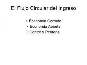 El Flujo Circular del Ingreso Economa Cerrada Economa