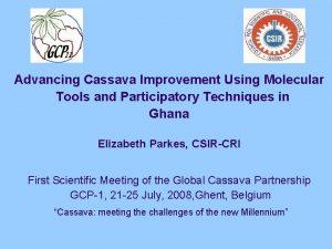 Advancing Cassava Improvement Using Molecular Tools and Participatory