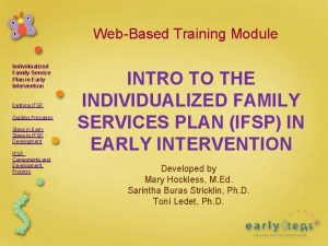 WebBased Training Module Individualized Family Service Plan in