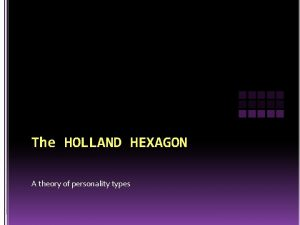 The HOLLAND HEXAGON A theory of personality types
