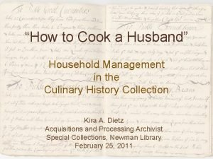 How to Cook a Husband Household Management in