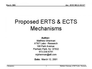 March 2001 doc IEEE 802 11 01157 Proposed