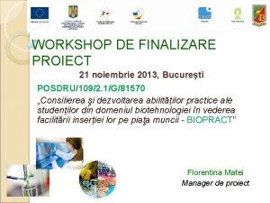 WORKSHOP DE FINALIZARE PROIECT 21 noiembrie 2013 Bucureti