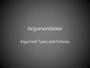 Argumentation Argument Types and Fallacies Richard Weavers Argument