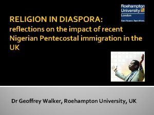 RELIGION IN DIASPORA reflections on the impact of