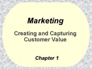 Marketing Creating and Capturing Customer Value Chapter 1