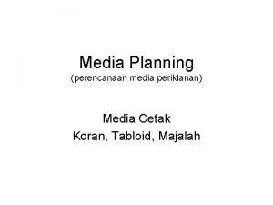 Media Planning perencanaan media periklanan Media Cetak Koran